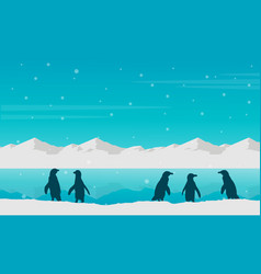 Landscape penguin on beach silhouette vector