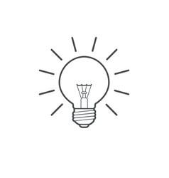 light bulb outline line art simple icon vector image