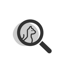 magnifying glass looking for a cat isolated web vector image