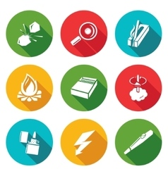 Make a fire the fire source Icons Set vector
