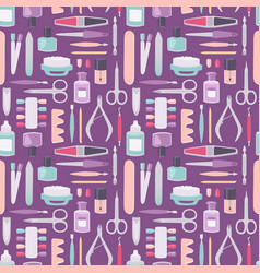 Manicure instruments set cartoon style vector
