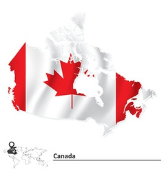 Map of Canada with flag vector image