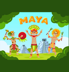 Maya tribe landscape background vector