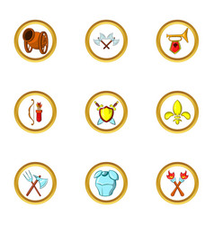 medieval weapons icon set cartoon style vector image