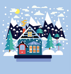 merry christmas greeting card design with country vector image
