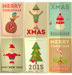 Merry christmas greeting poster set vector