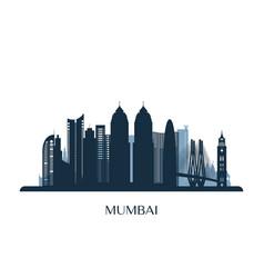 mumbai skyline monochrome silhouette vector image