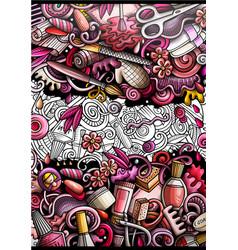 nail salon hand drawn doodle banner cartoon vector image
