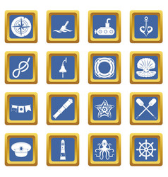 nautical icons set blue vector image