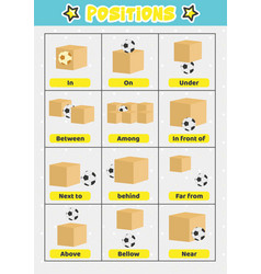 Objects position education poster for kids vector