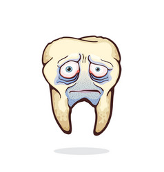 Old unhealthy sad human tooth with caries vector