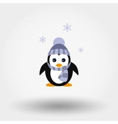 Penguin in a knitted cap vector image