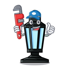 Plumber street lamp mascot cartoon vector