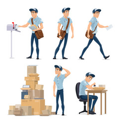 postman delivering mail icon for postal service vector image