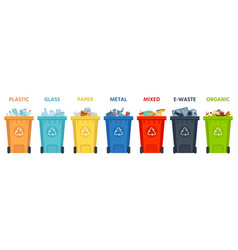 recycling bins containers with separated garbage vector image