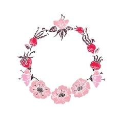 Rose linocut frame vector