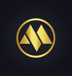Round letter m gold logo vector