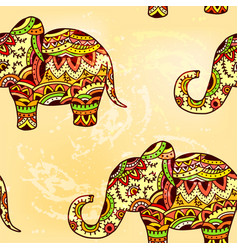 seamless bright ethnic pattern with elephant vector image