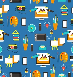 Seamless pattern with design equipment vector image