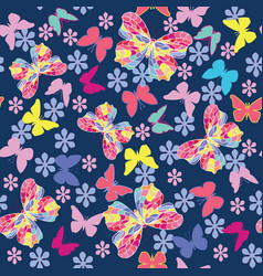 seamless pattern with flying butterflies and vector image
