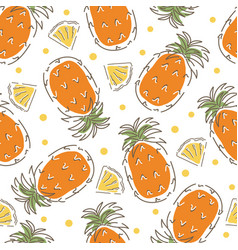 Seamless pattern with pineapples abstract fruits vector