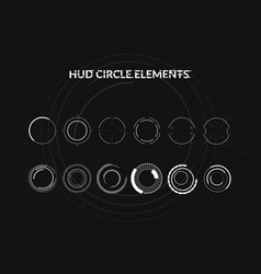 set of black and white hud circle infographic vector image