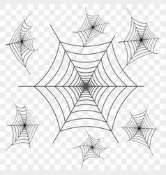 set of black spider web on transparent vector image