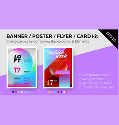 Set of bright poster templates vector