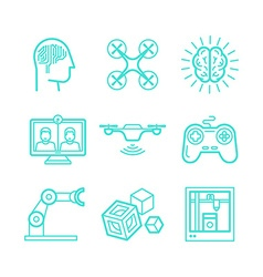 Set of icons in trendy linear style vector