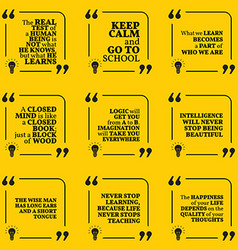 Set of motivational quotes about learning school vector