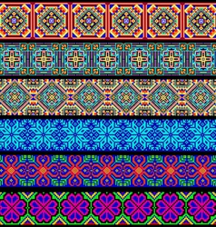 Set of ornamental braid strips of colored geometri vector