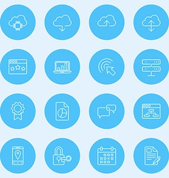 Set thin line seo and development icons vector