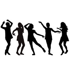 silhouettes of girls dancing vector image
