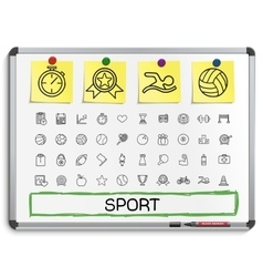 Sport hand drawing line icons vector