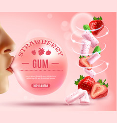 Strawberry bubble gum composition vector
