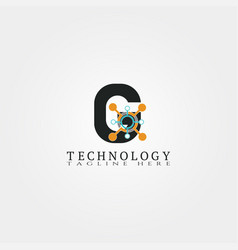 technology icon template with g letter creative vector image