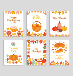 Thanksgiving day cards autumn rustic poster vector