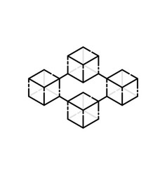 thin line cubes like simple blockchain vector image