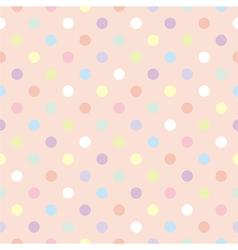 Tile pastel polka dots pink pattern vector