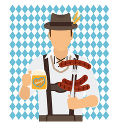 traditional oktoberfest man icon vector image