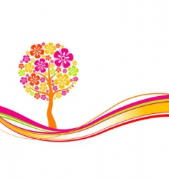 tree spring background vector image