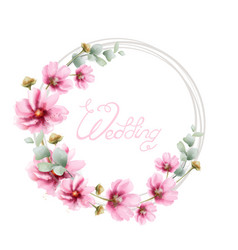 wedding wreath with summer colorful flowers vector image