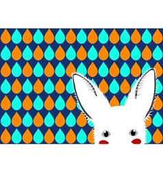 White Rabbit Blue Green Orange Drops Background vector