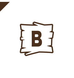 wooden alphabet or font blocks with letter b in vector image