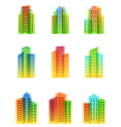 a set of bright houses icons vector image vector image