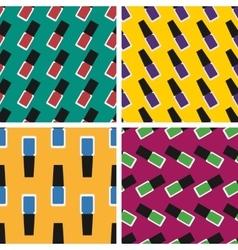 Flat nail polish seamless patterns set vector image