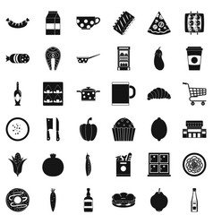 luncheon icons set simple style vector image