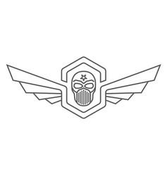 skull helmet with wings logo vector image