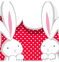 Two white cute rabbit pink comic bubble vector image