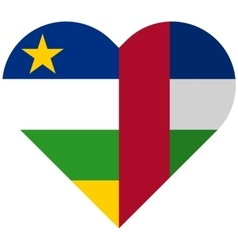 Central African Republic flat heart flag vector image